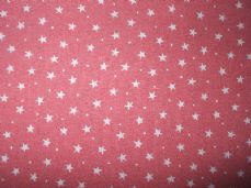 Pink with 3mm White Stars 100% Cotton Fabric